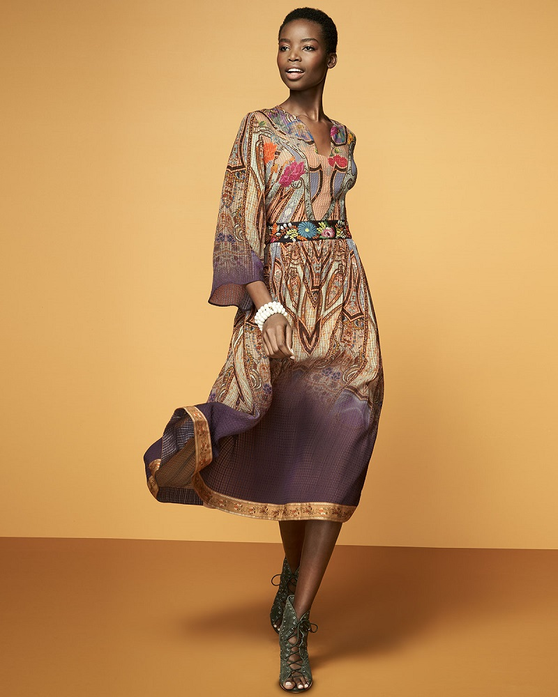 Etro-Paisley-Bracelet-Sleeve-Midi-Dress