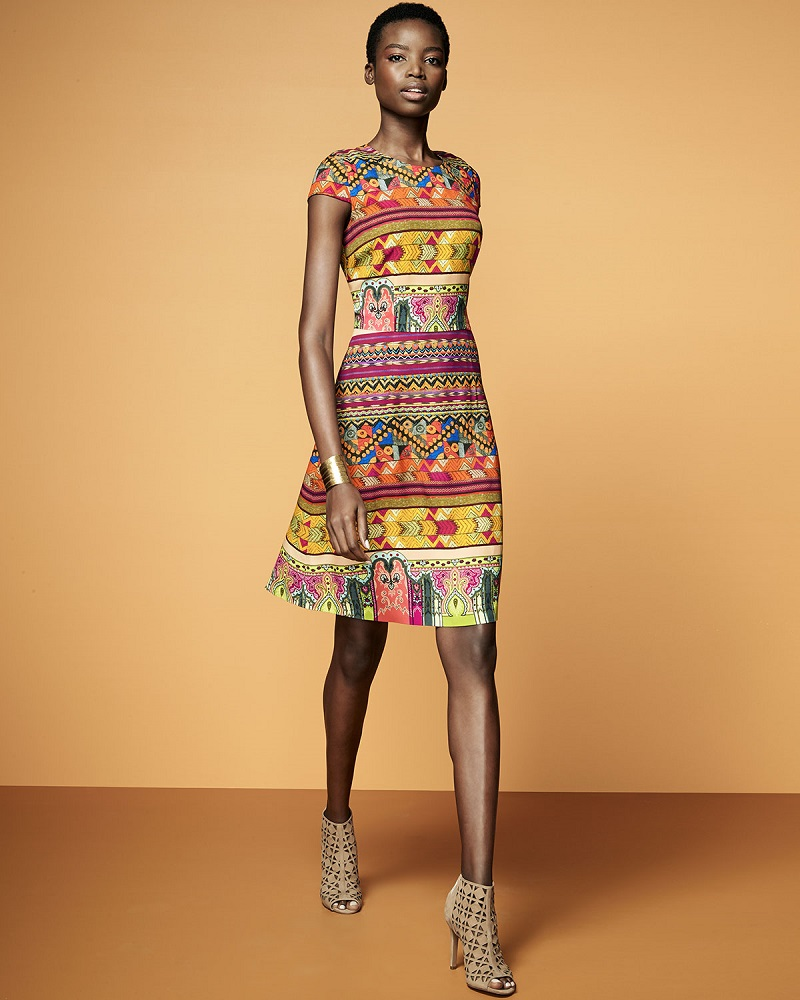 Etro-Ribbon-Print-Cap-Sleeve-A-Line-Dress