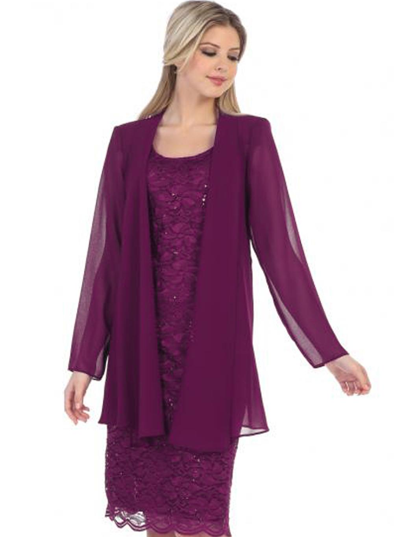 d5efb7372a42 Fialový kostýmek se šifonovým kabátkem. Neohodnoceno. fialove saty ·  fialove saty